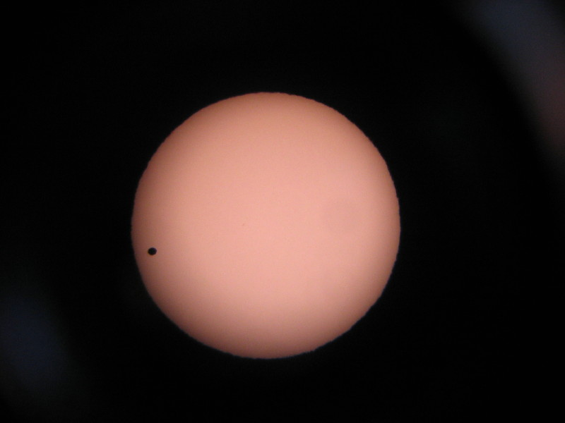 IMG_0062Transit - Venus transit, near third contact. Taken afocally through my dob with the simple solar filter illustrated in the DIY section.