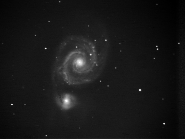 M51ech0320 - Same raw data as the other M51 image - but processed more delicately to avoid clipping, and bring out more subtle detail.